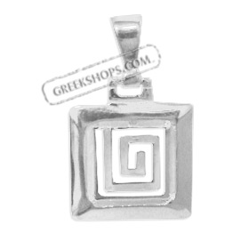 Sterling Silver Pendant - Greek Key Square (18mm)