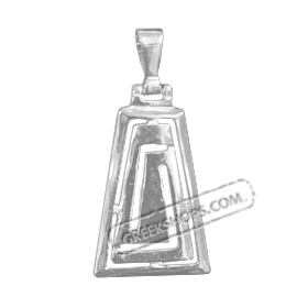 Sterling Silver Pendant - Greek Key Trapezoid (29mm)