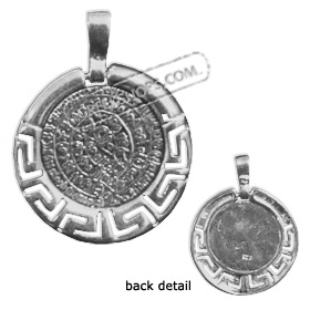Sterling Silver Pendant - Phaistos Disk With Greek Key (24mm)