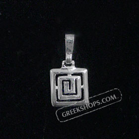 Sterling Silver Pendant - Greek Key Square (12mm)