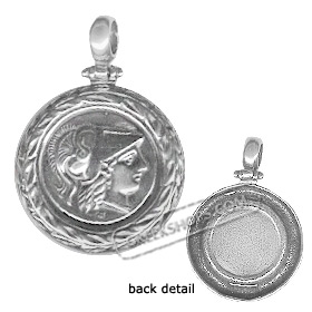 Sterling Silver Pendant - Athena w/ Olive Leaf Border (26mm)