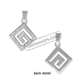 Sterling Silver Pendant - Greek Key with Swarovski Crystals Small (17mm)