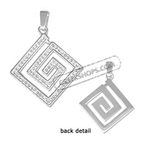 Sterling Silver Pendant - Greek Key with Swarovski Crystals Large (25mm)