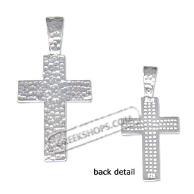 Sterling Silver Pendant - Hammered Cross (26mm)