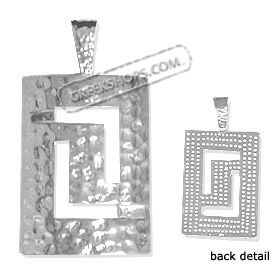 Sterling Silver Pendant - Punched Silver Rectangular Greek Key (37mm)
