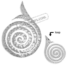 Sterling Silver Pendant - Hammered Swirl Motif with Tail (31mm)