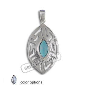 The Alcyone Collection - Sterling Silver Pendant - Greek Key Oval Large (40mm) (Clearance 20% Off)