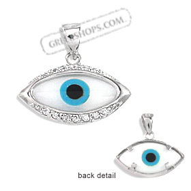The Amphitrite Collection - Sterling Silver Pendant - Mother of Pearl Eye with Cubic Zirconia (20mm)