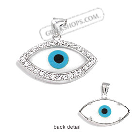 The Amphitrite Collection - Sterling Silver Pendant - Mother of Pearl Eye with Cubic Zirconia (25mm)