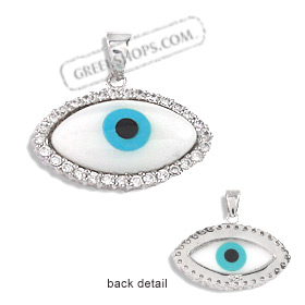 The Amphitrite Collection - Sterling Silver Pendant - Mother of Pearl Eye with Cubic Zirconia (24mm)