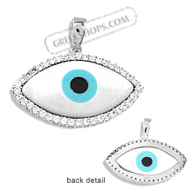 The Amphitrite Collection - Sterling Silver Pendant - Mother of Pearl Eye with Cubic Zirconia (34mm)