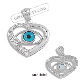 The Amphitrite Collection - Sterling Silver Pendant - Heart Eye with Cubic Zirconia (31mm)