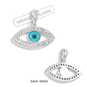 The Amphitrite Collection - Sterling Silver Pendant - Eye with Cubic Zirconia (25mm)