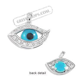 The Amphitrite Collection - Sterling Silver Pendant - Eye with Cubic Zirconia (20mm)