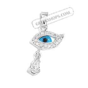 The Amphitrite Collection - Sterling Silver Pendant - Eye with Cubic Zirconia (27mm)