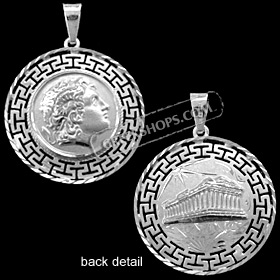 Platinum Plated Sterling Silver Pendant - Alexander and Parthenon with Greek Key (34mm)