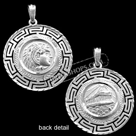 Platinum Plated Sterling Silver Pendant - Alexander and Parthenon with Greek Key (26mm)
