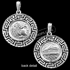 Platinum Plated Sterling Silver Pendant - Alexander and Parthenon with Greek Key (22mm)