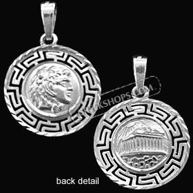 Platinum Plated Sterling Silver Pendant - Alexander and Parthenon with Greek Key (20mm)