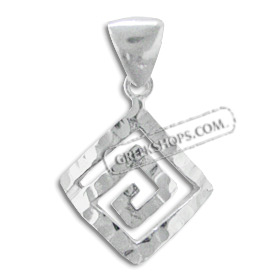 Sterling Silver Pendant - Curved Greek Key with Hammered Detail (19mm)