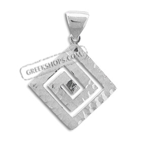 Sterling Silver Pendant - Greek Key with Hammered Detail (28mm)