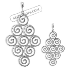The Ariadne Collection - Sterling Silver Pendant - Cluster of Nine Swirl Motif (51mm)