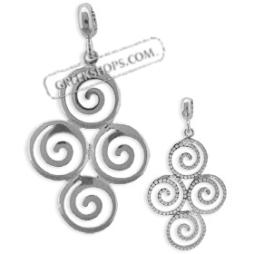 The Ariadne Collection - Sterling Silver Pendant - Cluster of Four Swirl Motif (31mm)
