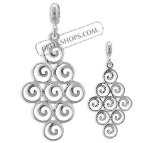 The Ariadne Collection - Sterling Silver Pendant - Cluster of Nine Swirl Motif (27mm)