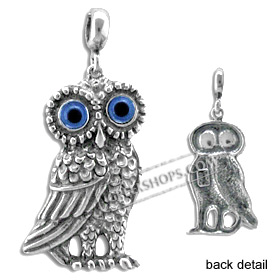 Sterling Silver Pendant - Large Standing Owl (30mm)
