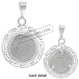 Sterling Silver Pendant  - Phaistos Disk w/ Greek Key Motif (25mm)