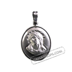 Sterling Silver Religious Large Icon Pendant - Jesus / Christos (11mm)