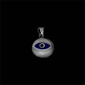 Greek Sterling Silver Mati Collection - Pendant w/ dark blue glass and Evil Eye (10mm)