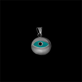 Greek Sterling Silver Mati Collection - Pendant w/ turquise glass and Evil Eye (10mm)