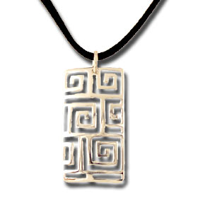 Sterling Silver Geometric Greek Key Pendant (38mm x 18mm) w/ Leather Cord