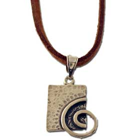 Neoclassic Collection :: Spiral Motif Rectangular Pendant with leather cord (17mm)
