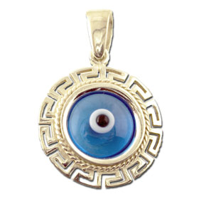 Sterling SIlver Turqoise Evil Eye Pendant with Greek Key border (18mm)