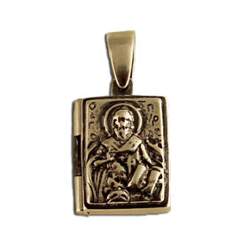 St. Spyridon Sterling Silver Square Locket Pendant