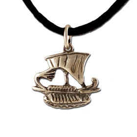 Sterling Silver Pendant - Trireme Ship (20mm) w/ leather cord