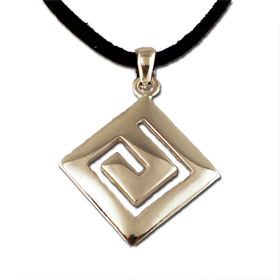 Greekshops greek products sterling silver pendants sterling silver greek key pendant 20mm w leather cord audiocablefo