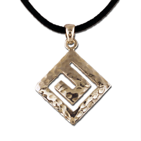 Sterling Silver Hammered Greek Key Pendant 20mm w/ leather cord