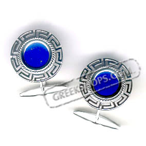 Sterling Silver Greek Key Cufflinks with Lapis Stone (20mm)