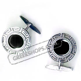 Sterling Silver Greek Key Cufflinks with Onyx Stone (20mm)