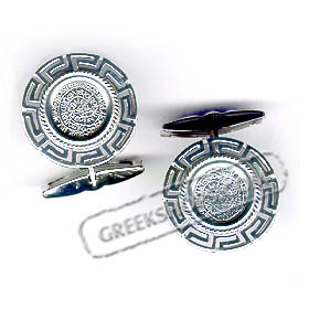 Sterling Silver Phaistos Disc Cufflinks with Greek Key (20mm)