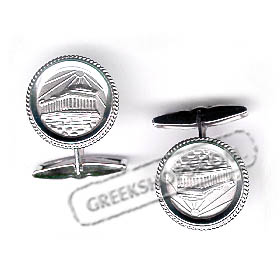 Platinum Plated, Sterling Silver Parthenon Cufflinks (17mm)