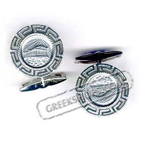 Sterling Silver Parthenon Cufflinks with Greek Key (20mm)