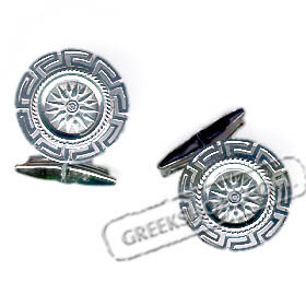 Sterling Silver Star of Vergina Cufflinks with Greek Key (20mm)