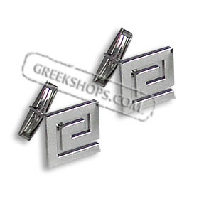 Sterling Silver Greek Key Cufflinks (17mm square)