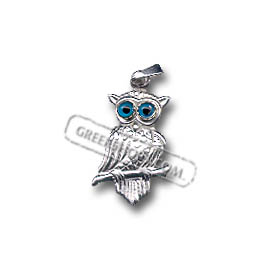 Platinum Plated Sterling Silver Pendant - Perched Owl (21mm)