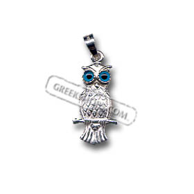 Platinum Plated Sterling Silver Pendant - Perched Owl (22mm)