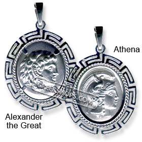 Sterling Silver Pendant Two-Sided Oval Alexander (or Athena) with Parthenon 3cm